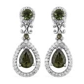 Bohemian Moldavite, Cambodian Zircon Platinum Over Sterling Silver Earrings TGW 2.02 cts.