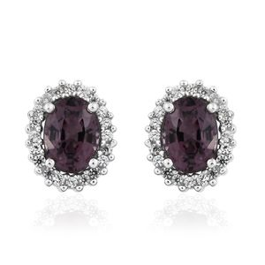 Burmese Lavender Spinel, Cambodian Zircon Platinum Over Sterling Silver Stud Earrings TGW 2.42 cts.