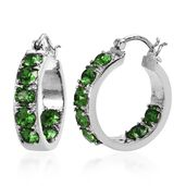 Stainless Steel Hoop Earrings Made with SWAROVSKI Emerald Crystal TGW 3.50 cts.