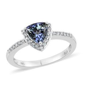 14K WG Peacock Tanzanite (2A), Diamond Ring (Size 7.0) TDiaWt 0.20 cts, TGW 1.55 cts.