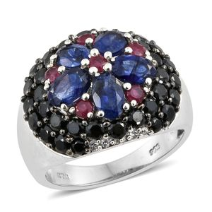 Masoala Sapphire, Multi Gemstone Platinum Over Sterling Silver Floral Concave Ring (Size 5.0) TGW 6.90 cts.