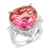 Arizona Sunset Quartz, Madagascar Pink Sapphire Platinum Over Sterling Silver Ring (Size 7.0) TGW 27.24 cts.