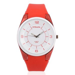 STRADA Japanese Movement Water Resistant Watch with Red Silicone Band and Stainless Steel Back