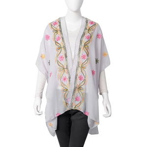 Gray 100% Polyester Embroidered Floral Pattern Kimono (31.5x35.44 in)