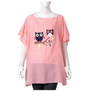 Pink Embroidered Owl Pattern 100% Polyester Poncho (35.44x27.56 in)