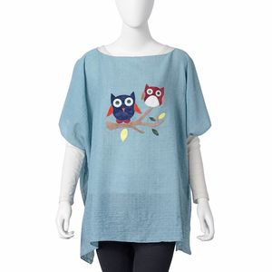Blue Embroidered Owl Pattern 100% Polyester Poncho (35.44x27.56 in)