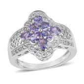 Tanzanite, White Zircon Sterling Silver Ring (Size 10.0) TGW 1.80 cts.