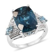 Customer Appreciation Day London Blue Topaz, Electric Blue Topaz, White Topaz Platinum Over Sterling Silver Ring (Size 9.0) TGW 15.31 cts.