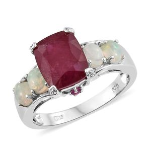 Niassa Ruby, Multi Gemstone Platinum Over Sterling Silver Ring (Size 10.0) TGW 6.97 cts.