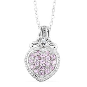 J Francis - Platinum Over Sterling Silver Mini Cluster Heart Pendant With Chain Made with SWAROVSKI Pink and White ZIRCONIA (20 in) TGW 0.95 cts.