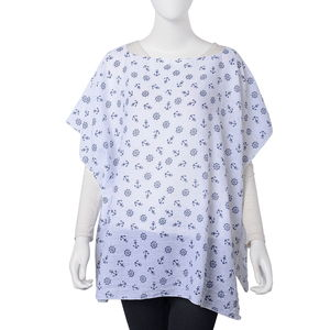 White 100% Polyester Anchor and Rudder Wheel Pattern Poncho (One Size)