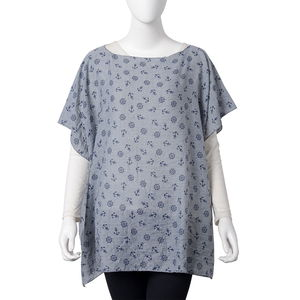 Gray 100% Polyester Anchor and Rudder Wheel Pattern Poncho (One Size)