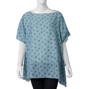 Green 100% Polyester Anchor and Rudder Wheel Pattern Poncho (One Size)
