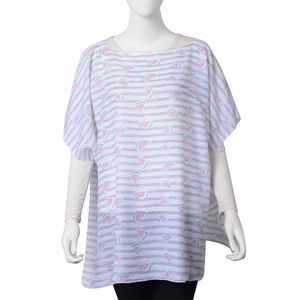 Gray Striped 100% Polyester Watermelon Pattern Poncho (One Size)