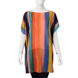 Orange and Multi Color 100% Polyester Scoop Neck Striped Poncho (One Size)