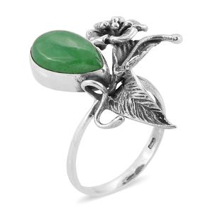 Bali Legacy Collection Burmese Green Jade Sterling Silver Floral Ring (Size 7.0) TGW 7.86 cts.