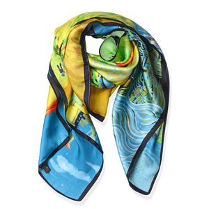 Green, Yellow and Blue Flower Garden, House, Starlit Night, Bedroom Van Gogh Oil Painting 100% Natural Mulberry Silk Scarf (33.85x33.85 in)