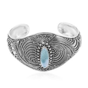 Bali Legacy Collection Larimar Sterling Silver Cuff (7.50 in) TGW 6.17 cts.