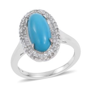 Arizona Sleeping Beauty Turquoise, Diamond Sterling Silver Ring (Size 10.0) TDiaWt 0.42 cts, TGW 3.07 cts.