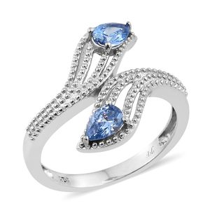 J Francis - Platinum Over Sterling Silver Bypass Ring Made with Blue SWAROVSKI ZIRCONIA (Size 7.0) TGW 1.25 cts.