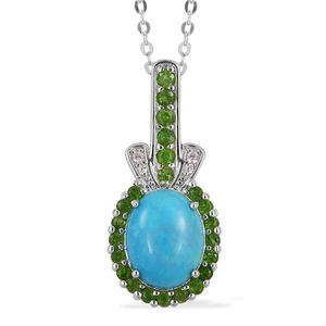 Arizona Sleeping Beauty Turquoise, Multi Gemstone Sterling Silver Pendant With Chain (18 in) TGW 2.88 cts.