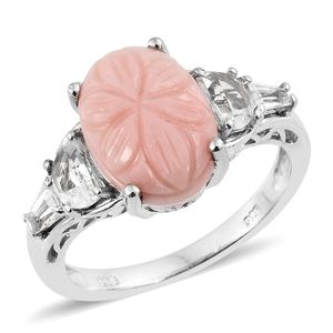 Oregon Peach Opal Carved Floral, White Topaz Platinum Over Sterling Silver Ring (Size 7.0) TGW 5.50 cts.