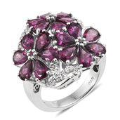 Orissa Rhodolite Garnet, Cambodian Zircon Platinum Over Sterling Silver Floral Ring (Size 7.0) TGW 9.35 cts.