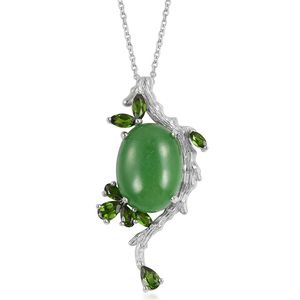 Burmese Green Jade, Russian Diopside Sterling Silver Pendant With Chain (18 in) TGW 19.70 cts.