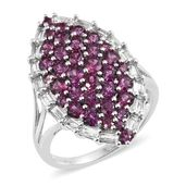 Orissa Rhodolite Garnet, White Topaz Platinum Over Sterling Silver Statement Ring (Size 6.0) TGW 4.51 cts.