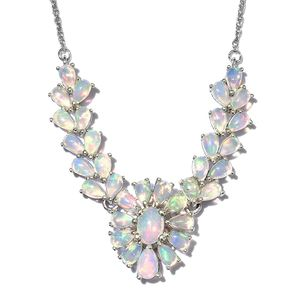 Ethiopian Welo Opal Platinum Over Sterling Silver Princess Necklace (18-20 in) TGW 5.75 cts.