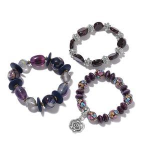 Multi Gemstone, Ceramic, Wooden Beads Iron Set of 3 Bracelet (6.50 In) TGW 607.00 cts.
