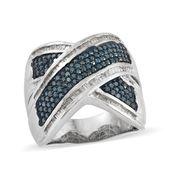 Blue Diamond (IR), Diamond Blue Rhodium and Platinum Over Sterling Silver Criss Cross Ring (Size 7.0) TDiaWt 1.50 cts, TGW 1.50 cts.