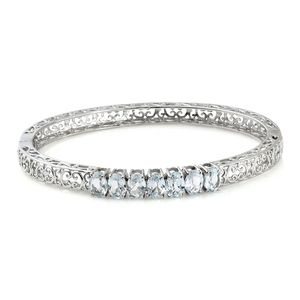 Sky Blue Topaz Stainless Steel Openwork 7 Stone Bangle (7.25 in) Total Gem Stone Weight 5.70 Carat