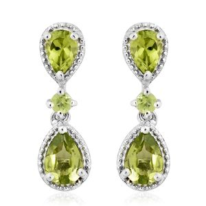 Hebei Peridot Platinum Over Sterling Silver Dangle Earrings TGW 2.50 cts.