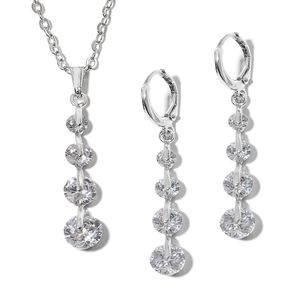 Simulated Diamond Stainless Steel Lever Back Earrings and Pendant With Chain (18 in) TGW 6.00 cts.