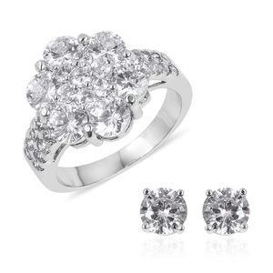 Simulated White Diamond Silvertone Stud Earrings and Ring (Size 8) TGW 7.00 cts.