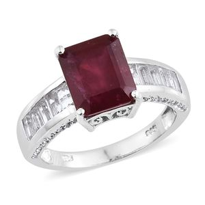 Niassa Ruby, White Topaz Platinum Over Sterling Silver Ring (Size 8.0) 0 TGW 8.67 cts.