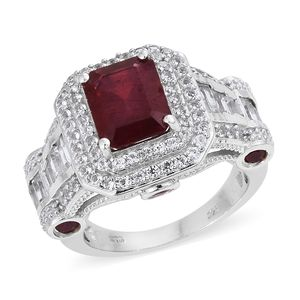 One Time Only Niassa Ruby, White Topaz Platinum Over Sterling Silver Ring (Size 10.0) TGW 10.90 cts.