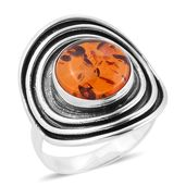 Bali Legacy Collection Baltic Amber Sterling Silver Cuff Ring (Size 7.0) TGW 3.17 cts.