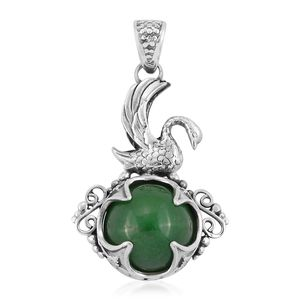 Bali Legacy Collection Burmese Green Jade Sterling Silver Caged Pendant without Chain TGW 14.88 cts.