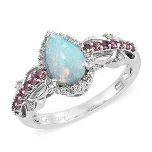 Ethiopian Welo Opal, Multi Gemstone Platinum Over Sterling Silver Ring (Size 10.0) TGW 1.84 cts.