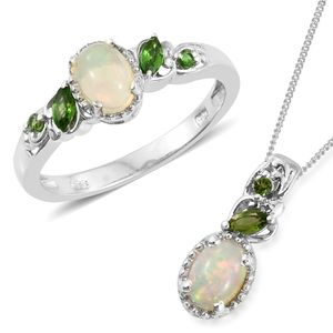 Ethiopian Welo Opal, Russian Diopside Platinum Over Sterling Silver Ring (Size 6) and Pendant With Chain (20 in) TGW 1.48 cts.