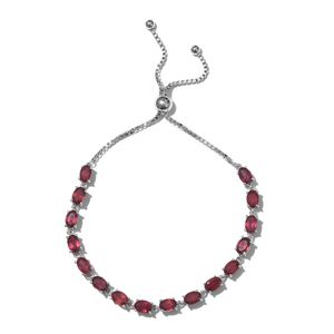 Niassa Ruby Platinum Over Sterling Silver Bolo Bracelet (Adjustable) (9.50 In) TGW 12.00 cts.