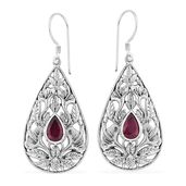 Bali Legacy Collection Niassa Ruby Sterling Silver Earrings TGW 3.33 cts.