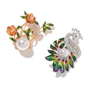 Set of 2 Multi Color Gemstone Crystal, Chroma Enameled Dualtone Flower and Peacock Brooch