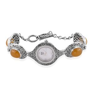 EON 1962 Burmese Yellow Jade Swiss Movement Sterling Silver Water Resistant Bracelet Watch with Stainless Steel Back TGW 25.00 cts.