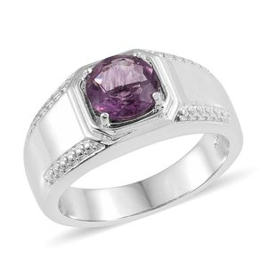 KARIS Collection - Purple Fluorite Platinum Bond Brass Men's Signet Ring (Size 12.0) TGW 2.75 cts.