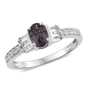 Burmese Lavender Spinel, White Topaz Platinum Over Sterling Silver Ring (Size 5.0) TGW 1.55 cts.