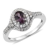 Burmese Lavender Spinel, Cambodian Zircon Platinum Over Sterling Silver Ring (Size 6.0) TGW 1.71 cts.