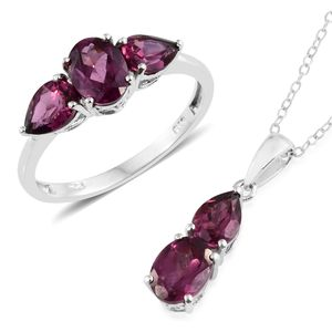 Orissa Rhodolite Garnet Platinum Over Sterling Silver Ring (Size 9) and Pendant With Chain (20 in) TGW 5.70 cts.